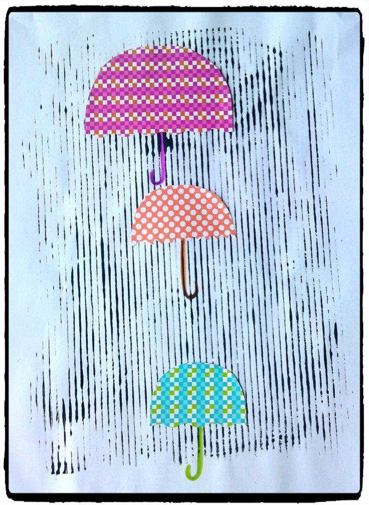 pluie, peinture enfant, parapluie