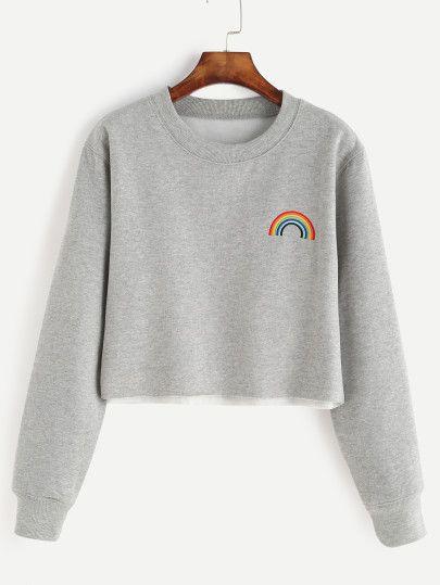 Sweat-shirt avec broderie motif arc-en-ciel - gris
