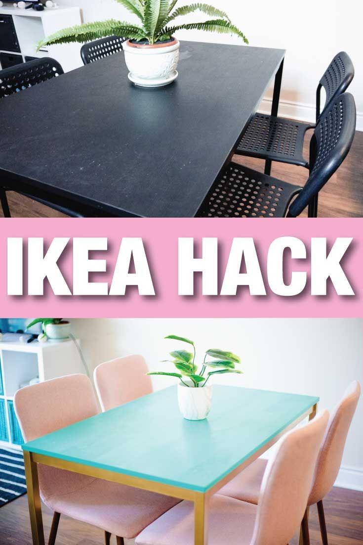 Ikea Hack How I Turned A Cheap Bland Table Into A Beautiful And Bold Table Ikea Hack Ikea Marble Tables Design