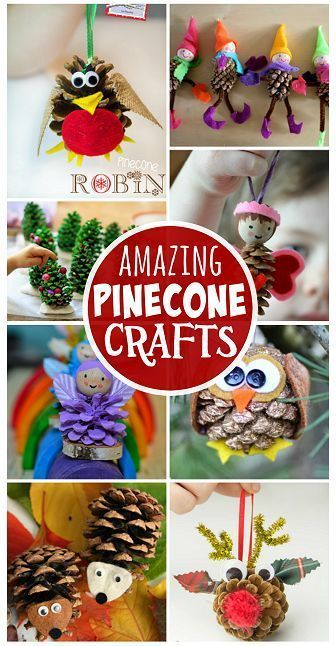 Pine Cone Crafts for Kids to Make (Find an owl, christmas tree, reindeer, fairy, hedgehog, and more!)