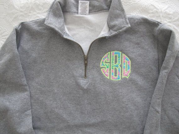 1/4 zip sweatshirt with applique monogram using Lilly Pulitzer fabric