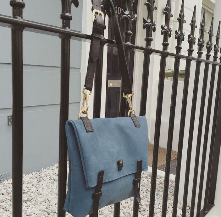 Little Olive Fold Bag - Blue Nubuck - available at olivecooper.com