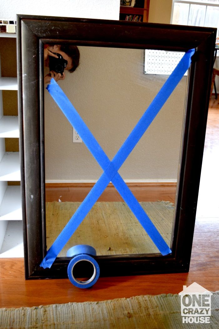 Moving Tip: When transporting large mirrors, use a few pieces of painters tape to reinforce the glass to keep it from breaking.