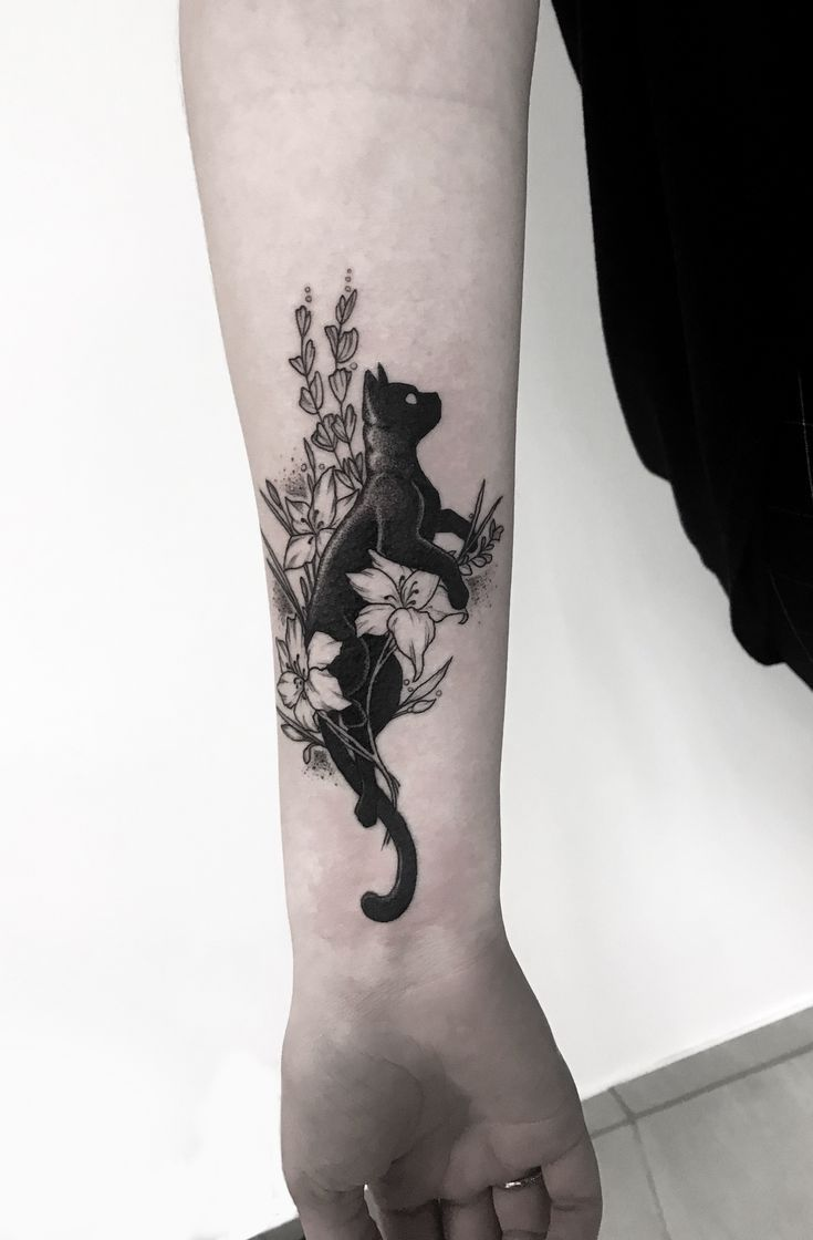 Www Facebook Com Cat Flowers Tattoo Black Cat Tattoos Tattoos Cat Tattoo Designs