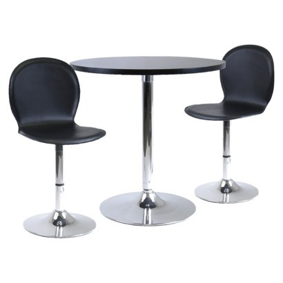 Spectrum Round Dining Table with Metal Base - Black: Dining Rooms, Tables Sets, Swivel Chairs, Winsom, Pieces Dining, Dining Sets, Leather Chairs, Dinning Tables, Dining Tables