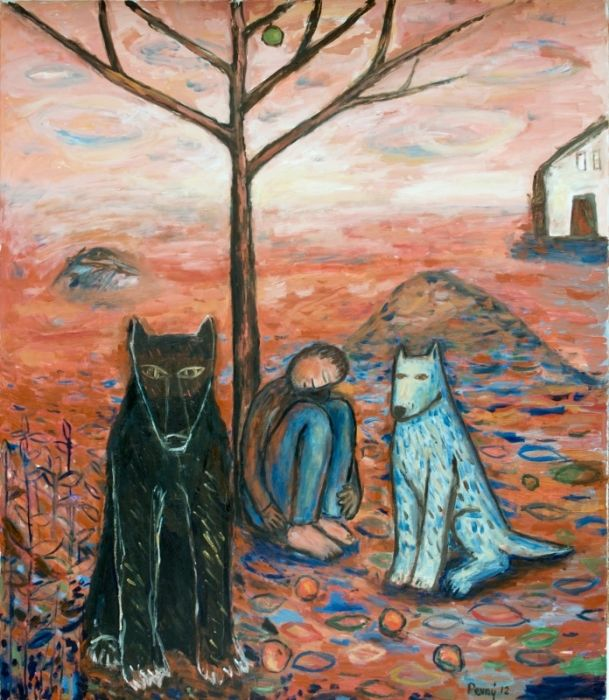 Man, a wolf and a dog 2, 2012, oil on canvas, 150 x 130 cm by Jindřich Pevný