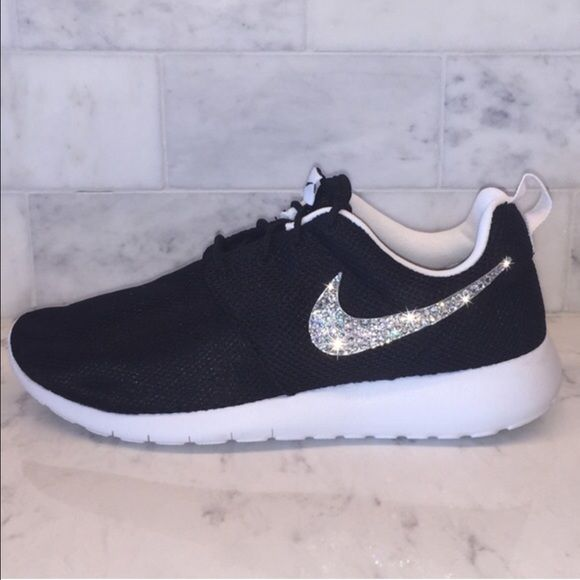 ✨SWAROVSKI CRYSTAL NIKE ROSHE✨ ✨Note that these Nike's are manufactured in Girls Grade School Youth. Subtract 1.5 from your normal woman size to get your size in girls. ✨Example: Woman 7.0 = Girls 5.5 Youth.       ✔️ Each pair of shoe has $45.00 worth of Swarovski Crystals. All crystals are hand placed with high strength glue to ensure they will not come off. BRAND NEW IN ORIGNAL BOX. Purchased from a verified Nike retailer. Nike Shoes Athletic Shoes