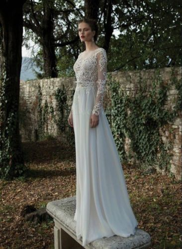 New White Ivory Lace Wedding Dresses Sexy Sheer Backless Long Sleeve Bridal Gown | eBay