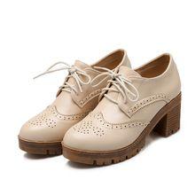 2016 nueva Oxford Zapatos de plataforma para mujeres Retro British Lace up Casual Zapatos tallas grandes Mujer negro marrón Oxfords Zapatos de Mujer F13(China (Mainland))