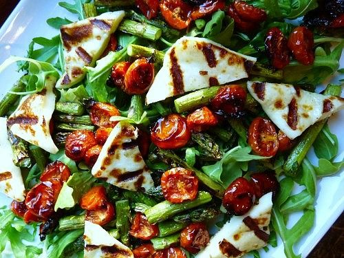 Chargrilled asparagus w/ roasted cherry toms & haloumi (+ avo & almonds)