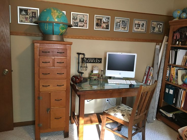 I have been wanting to make some changes to my home office. I had accumulated the pieces, but I had a huge solid oak entertainment center taking up an entire w