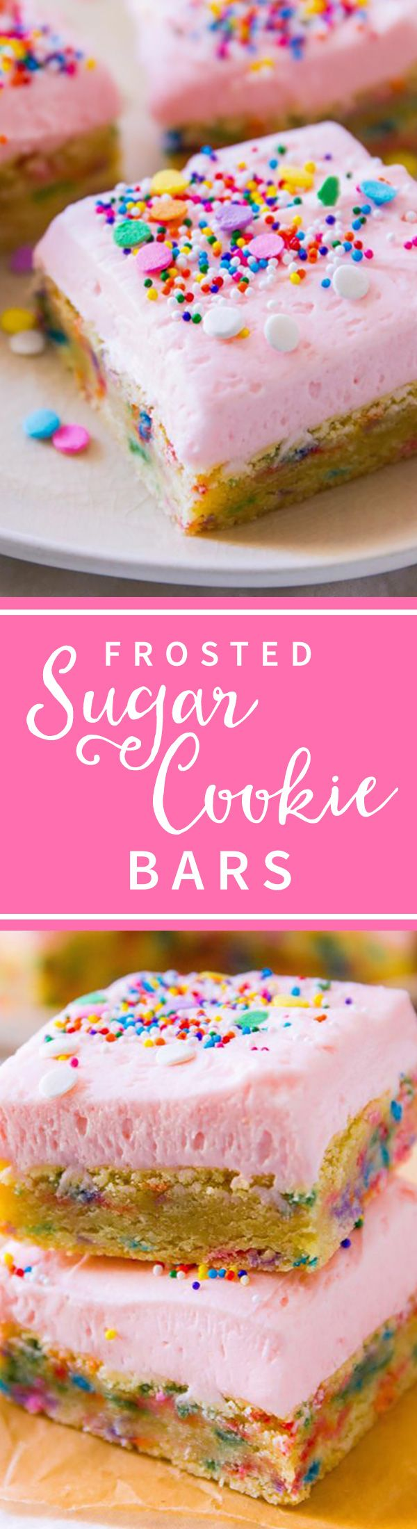 Soft and sweet sprinkle cookie bars! Funfetti frosted sugar cookie bars with pink frosting recipe on http://sallysbakingaddiction.com/2014/04/08/frosted-sugar-cookie-bars/