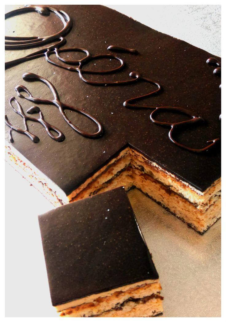 Hazelnut opera cake. Hazelnut cake layered with mocha buttercream and chocolate ganache.