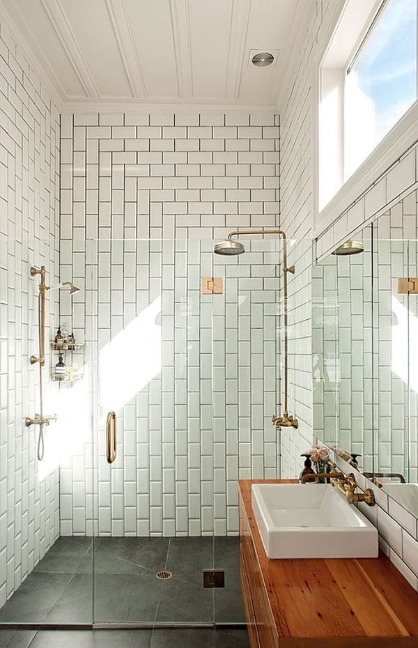 frameless shower door, varied subway tile pattern