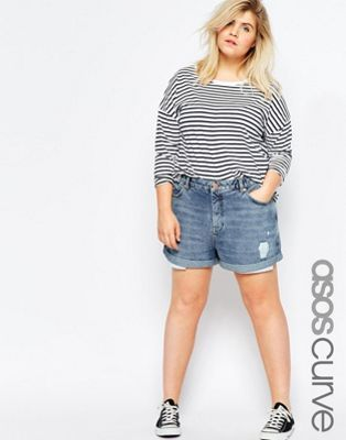 ASOS CURVE Mom Shorts in Indigo with Exposed Pockets