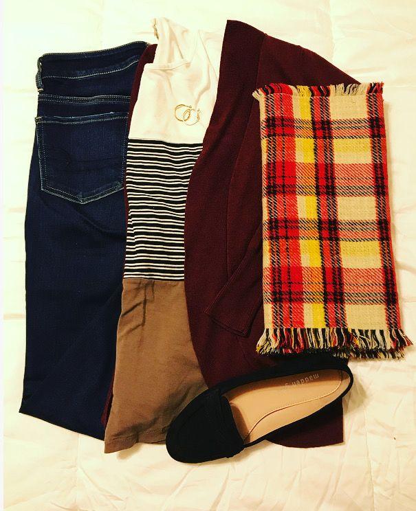 Top: TrueSelf • Cardigan: Target • Jeans: American Eagle • Shoes: MaddenGirl @ Shoe Carnival • Scarf: Handmade (bought at a craft fair) • Earrings: Target