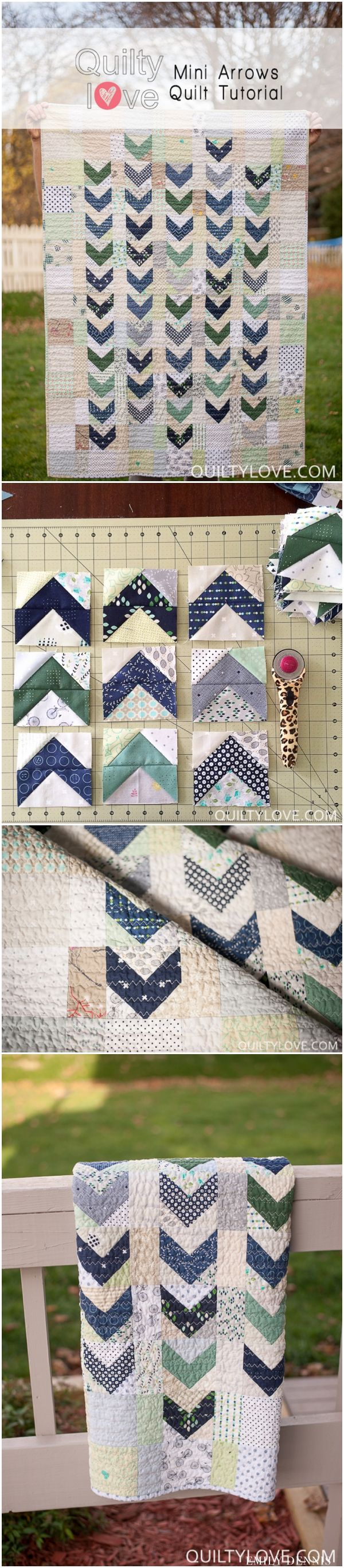 Flying geese arrows quilt by emily of quiltylove.com. Navy arrows with low volume scrappy background. Click through for cutting sizes.