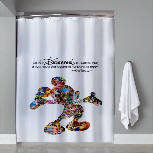Walt Disney Dreams Quote Mickey Mouse Character Montage Shower Curtain