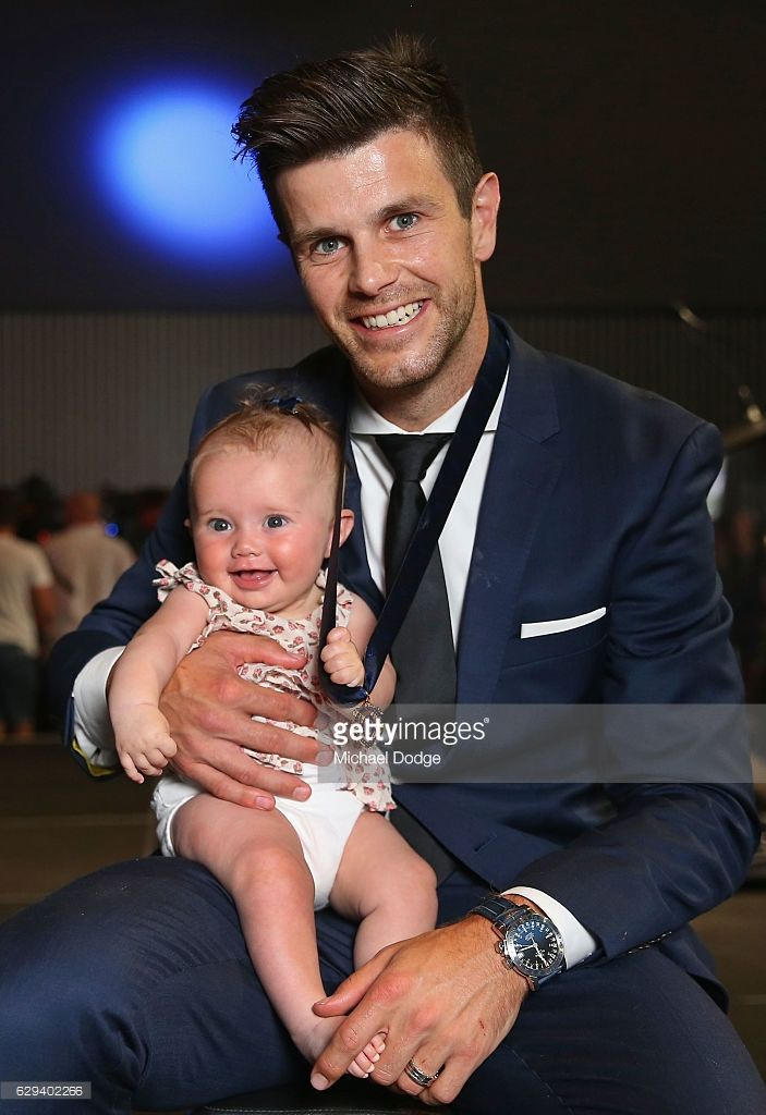 Trent Cotchin of the Richmond Tigers poses with daughter Mackenzie Foxx after being presented his Brownlow Medal during the 2012 Brownlow Medal presentation on December 13, 2016 in Melbourne, Australia.
