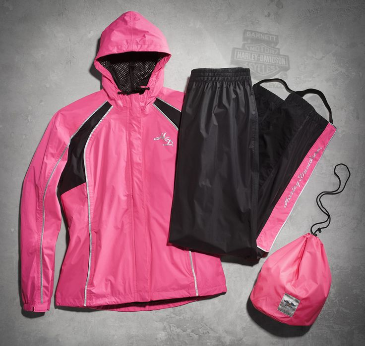 Harley-Davidson® | 98362-15VW | Harley-Davidson® Womens Hi-Vis Reflective Waterproof H-D Script Pink Rain Suit