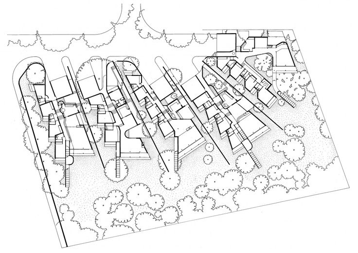 Plan of Rowan Lane houses, Cape Town, A+A de Souza Santos Architects, 1968-71
