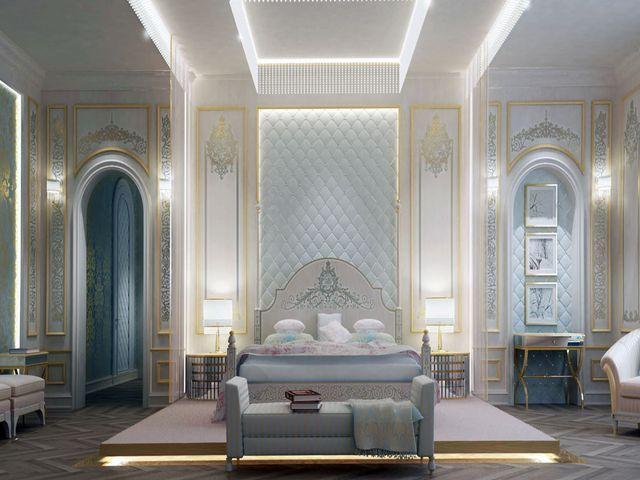 дворцовый интерьер в пастельных тонах
