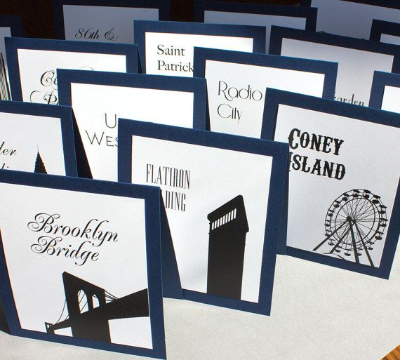 nyc icons for tables @ the wedding | NYC Table Tents Wedding New York Landmarks Large Custom White Navy ...