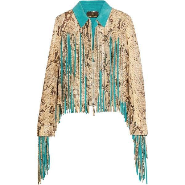 ROBERTO CAVALLI   Fringed croc-effect leather jacket ($1,685) ❤ liked on Polyvore featuring outerwear, jackets, multi coloured leather jacket, fringe jackets, zip jacket, white jacket and leather jackets