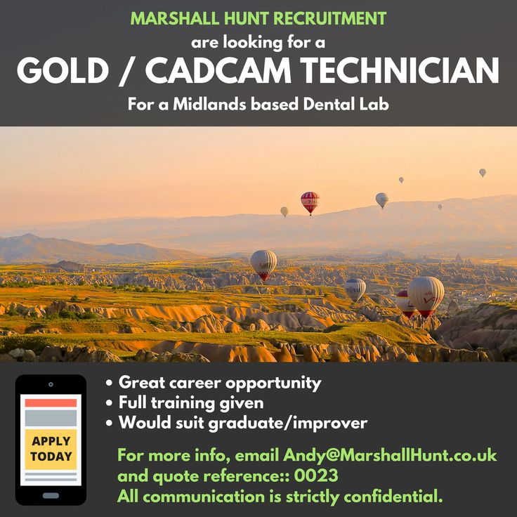 **Gold/CADCAM Technician Required** in Midlands based lab.  Would suit improver as full training given. Email andy@marshallhunt.co.uk for more details