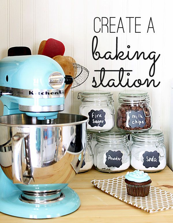 Super easy baking station - make it in minutes and save hours! Love this idea! Now I just need a kitchen aid!