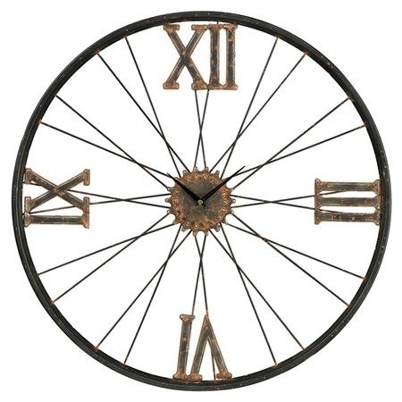 Why couldn't I do this with a bicycle wheel (or old wagon wheel) and a clock kit??? Found it at Wayfair - Iron Wall Clock in Rust & Bronze