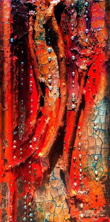 ARTFINDER: Abstract Painitng The Golden Garden, ... by Maria Fondler-Grossbaum - This unusual wall sculpture is titled The Golden Garden. This piece has thick layers of paint in a variety of colorus, rhinestones, modeling and crackle past...