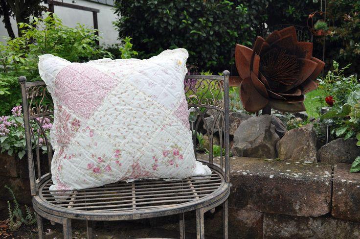 Clayre & Eef Kissenhülle Kissen rosa Rosen Shabby Landhaus Quilt  50 x 50