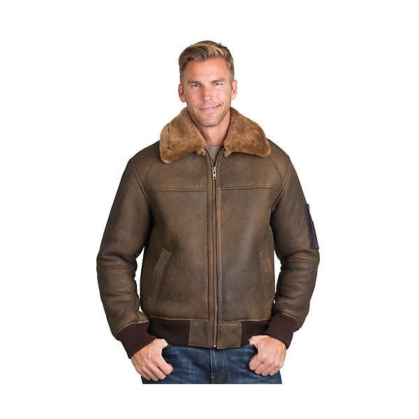 Maverick Sheepskin Bomber Jacket (€400) ❤ liked on Polyvore featuring men's fashion, men's clothing, men's outerwear, men's jackets, mens insulated jackets, mens long bomber jacket, mens short sleeve jacket, mens military style jacket and mens long jacket