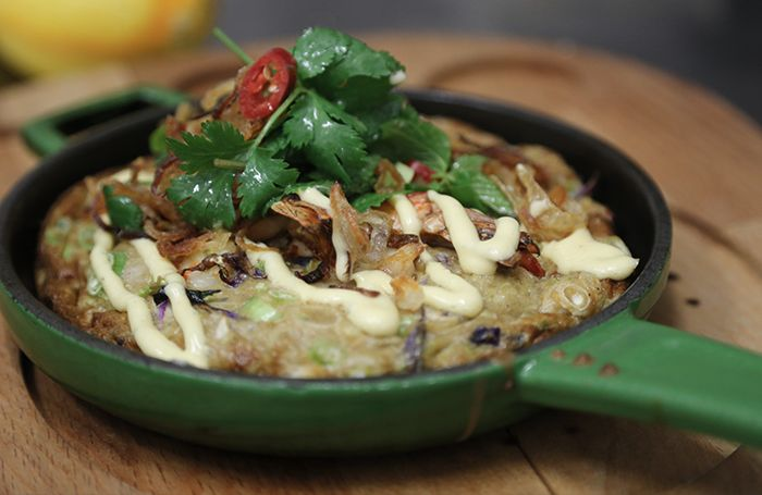 """The perfect Paleo breakfast or snack """"The Asian Inspired Prawn Omelette""""…"""