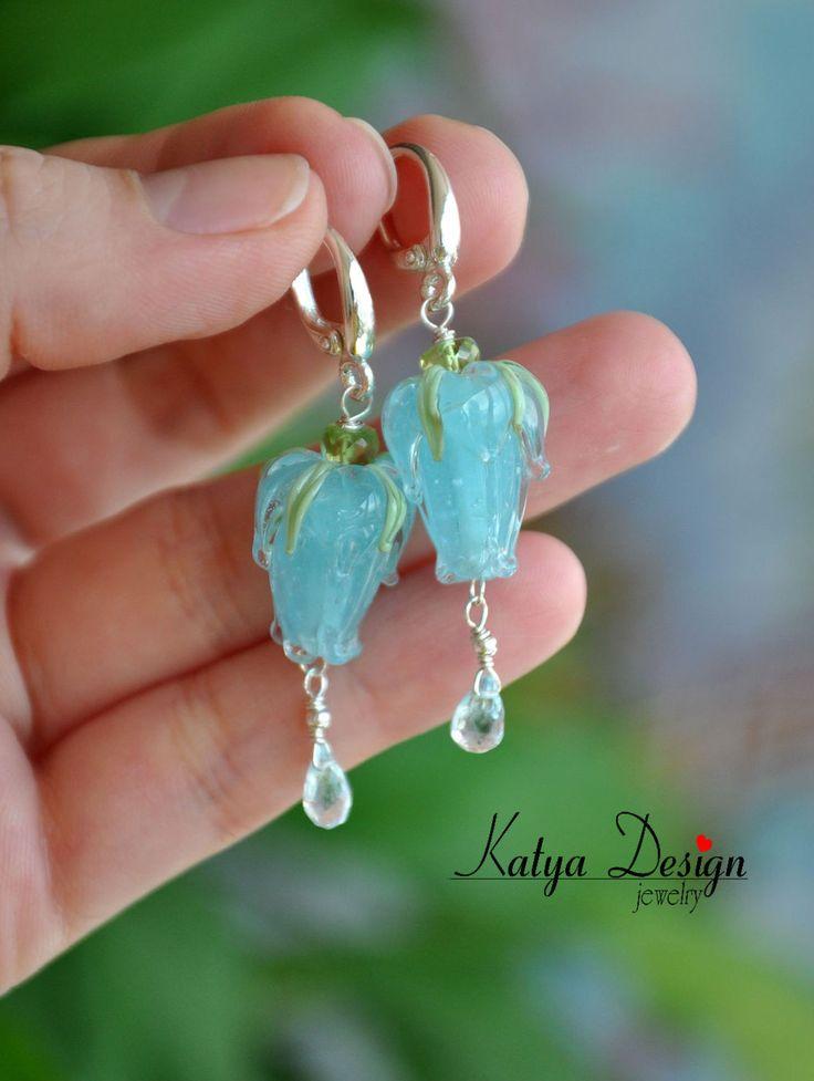 """Купить Серьги """"Нежность""""2 лэмпворк,топазы - голубой, украшения серьги, katya design"""
