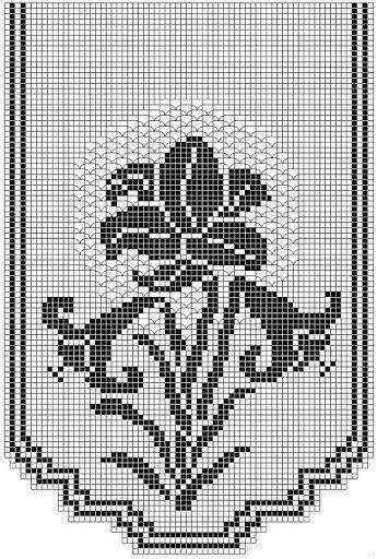 Beautiful floral filet crochet table runner chart.