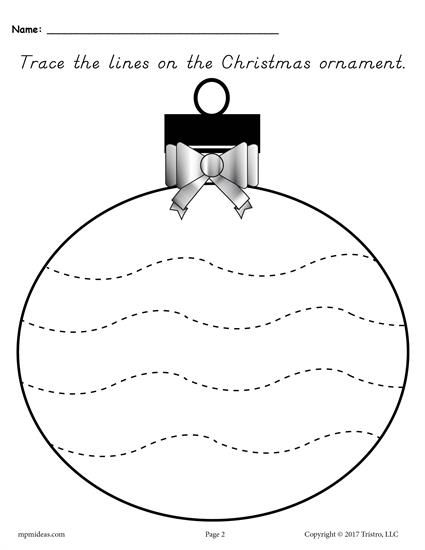 FREE Printable Christmas Ornament Tracing Worksheet With Wide Wavy Lines! These 5 tracing worksheets are great for preschoolers and kindergartners. Get all five tracing printables here --> https://www.mpmschoolsupplies.com/ideas/7874/free-printable-christmas-ornament-line-tracing-worksheets/