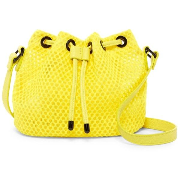 Poverty Flats By rian Sport Drawstring Crossbody ($25) ❤ liked on Polyvore featuring bags, handbags, shoulder bags, yellow, zipper purse, zip purse, yellow handbags, shoulder strap handbags and drawstring handbags
