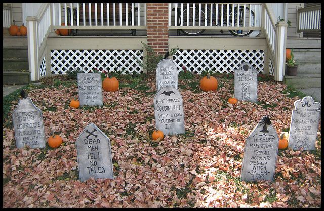 Halloween Grave Stones.  *make your own grave stones. i did these last year! :) it was so much fun to do and easy!! i bought my styrofoam in a pack of three long sheets at Lowe's and then just used black spray paint and a bottle of black puffy paint do write on them! :)