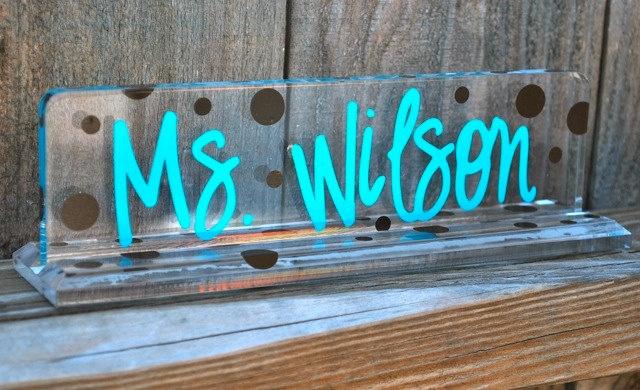 Personalized Acrylic Name/Desk Plate. $16.00, via Etsy.