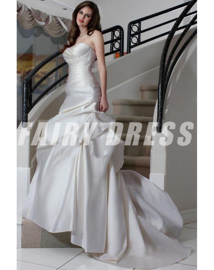 Robe de mariée trompette plisée décolletée en coeur à traîne Court en satin