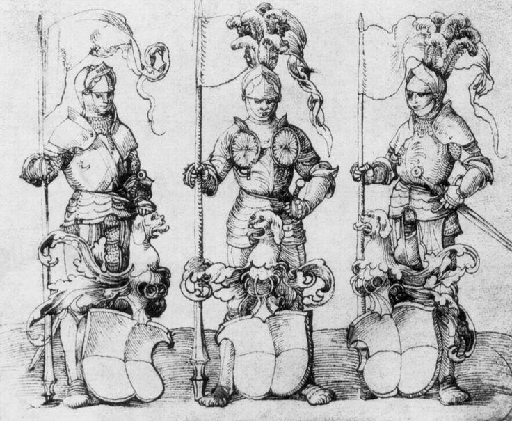 Artist: Schäufelein, Hans Leonhard, Title: Entwürfe für eine Wappenscheibe: Ritter als Schildhalter, Date: ca. 1510
