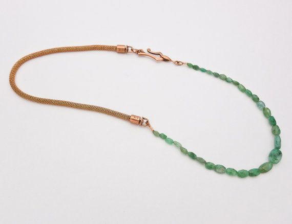 Faceted Emerald Necklace on Copper SilverSilk $72 by SofterFireJewelry