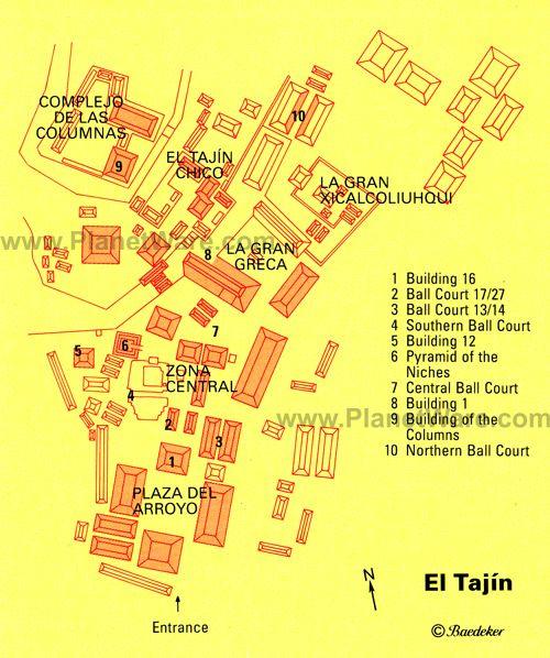 El Tajin map - Veracruz, Mexico