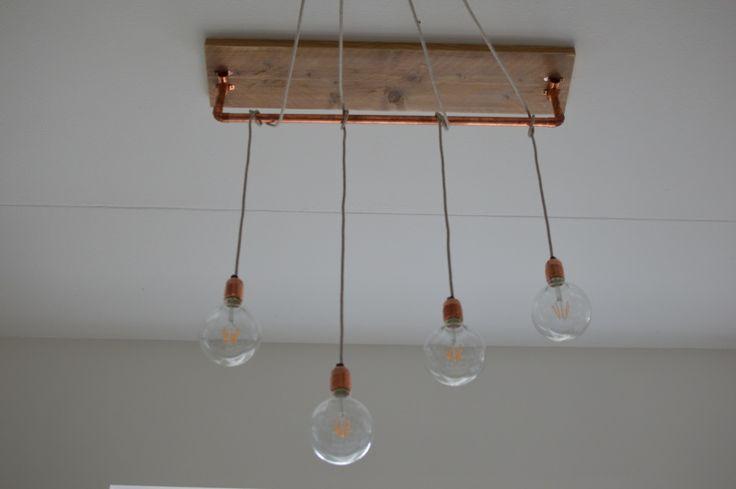 Hanglamp met gloeilampen | LED | Pendellampen met koperen details | Lamp 'Allicht' (hout en koper) VanStoerHout