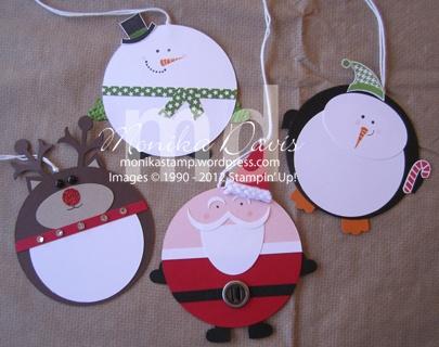 Christmas gift tags--circle--snowman, Santa, penguin, reindeer
