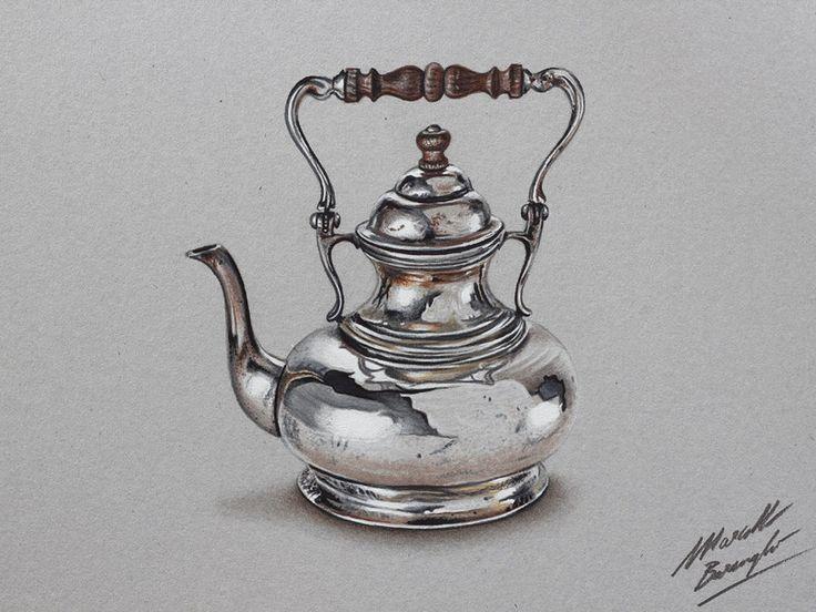 Silver teapot DRAWING by marcellobarenghi.deviantart.com on @deviantART