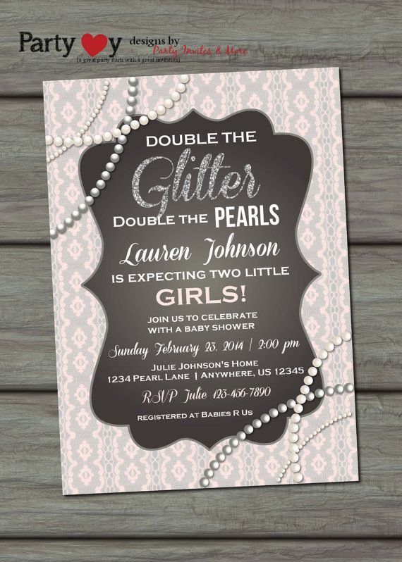 Twins Baby Shower Invitation Glitter Baby by PartyInvitesAndMore, $10.00