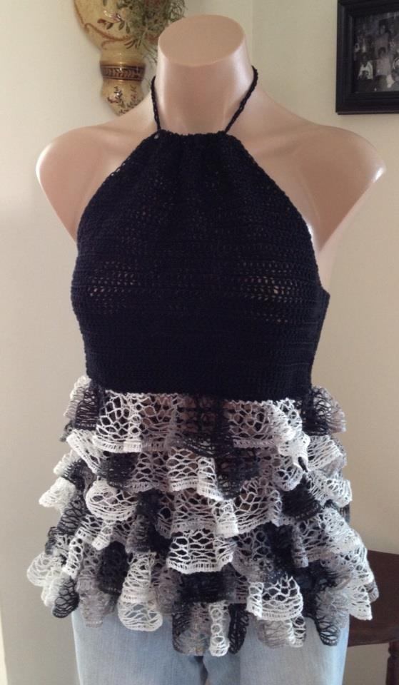 Hand crocheted triangle tie back halter